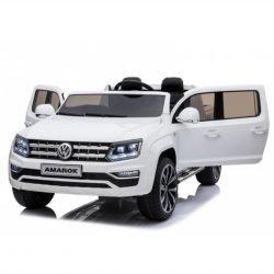 Электромобиль Volkswagen Amarok 4WD белый (легко съемный аккумулятор, 2х местный, резина, кожа, пульт музыка)
